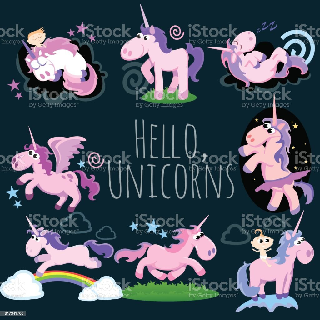 Cute Unicorn Isolated Set Magic Pegasus Flying With Wing And