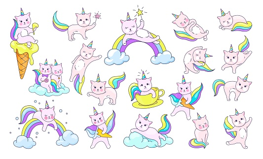 Cute unicorn kitty. Cartoon cats with rainbow tails and horns. Pets on clouds. Kittens resting and playing. Decorative kawaii prints on white background. Vector magical animals set