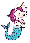 Cute unicorn mermaid simple vector cartoon illustration. Magical creature with unicorn head and body and fish tail. Dreaming, magic, believe in yourself, fairy tale mythical theme design element