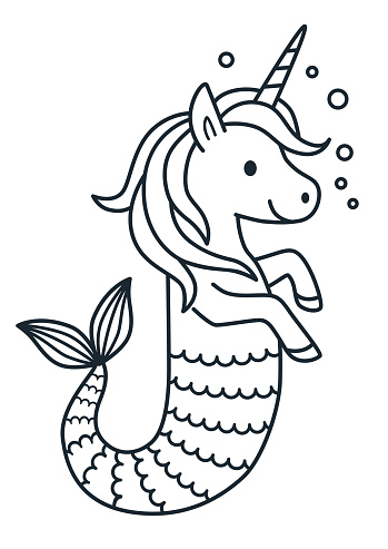 Cute Unicorn Mermaid Vector Coloring Page Cartoon Illustration Magical Creature With Unicorn Head And Body And Fish Tail Dreaming Magic Believe In Yourself Fairy Tale Mythical Theme Element Stock Illustration - Download Image Now