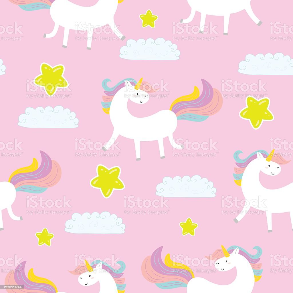 Cute unicorn on a pink background vector pattern cute unicorn on a pink background vector pattern cute unicorn on a pink voltagebd Gallery