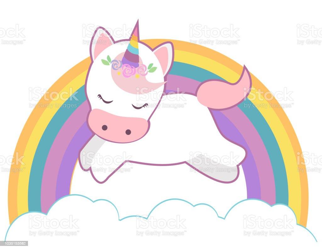 Cute Unicorn On Rainbow Vector Kawaii Style Illustration Stock