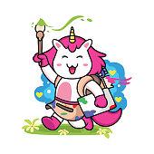 istock cute unicorn painter cartoon in white background 1296331031