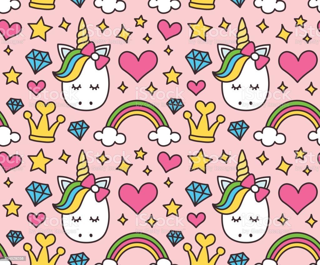 Cute unicorn, princess concept, girl beauty vector art illustration