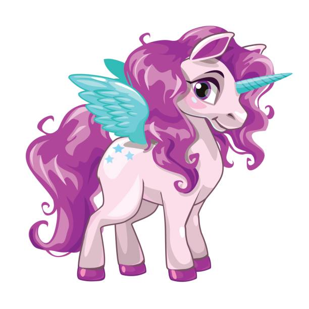 cute unicorn princess icon - pony stock illustrations