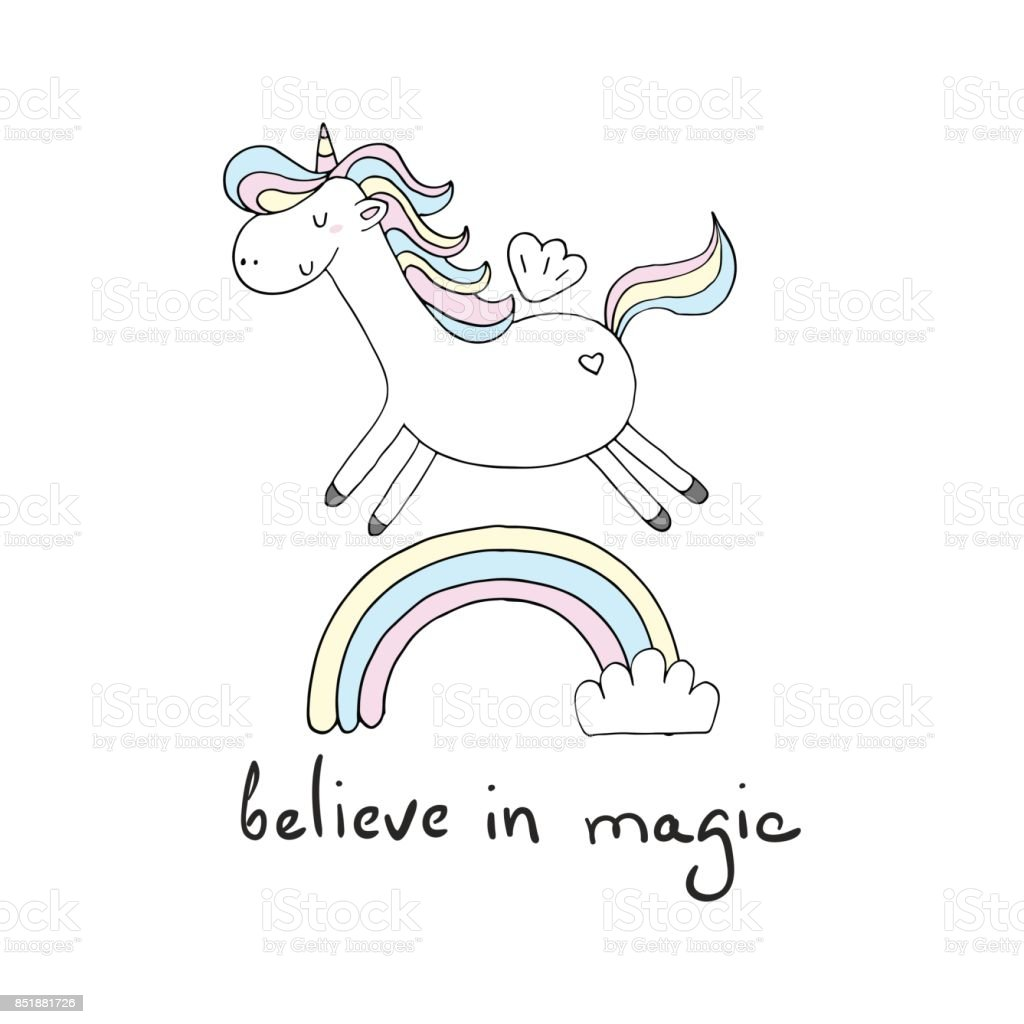 Cute Unicorn Print For Kids Believe In Magic Card Stock