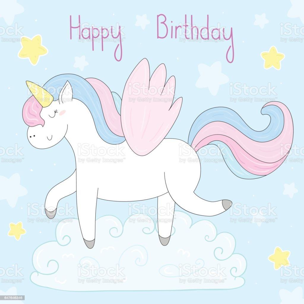 Cute Unicorn Print For Kids Happy Birthday Card Lizenzfreies