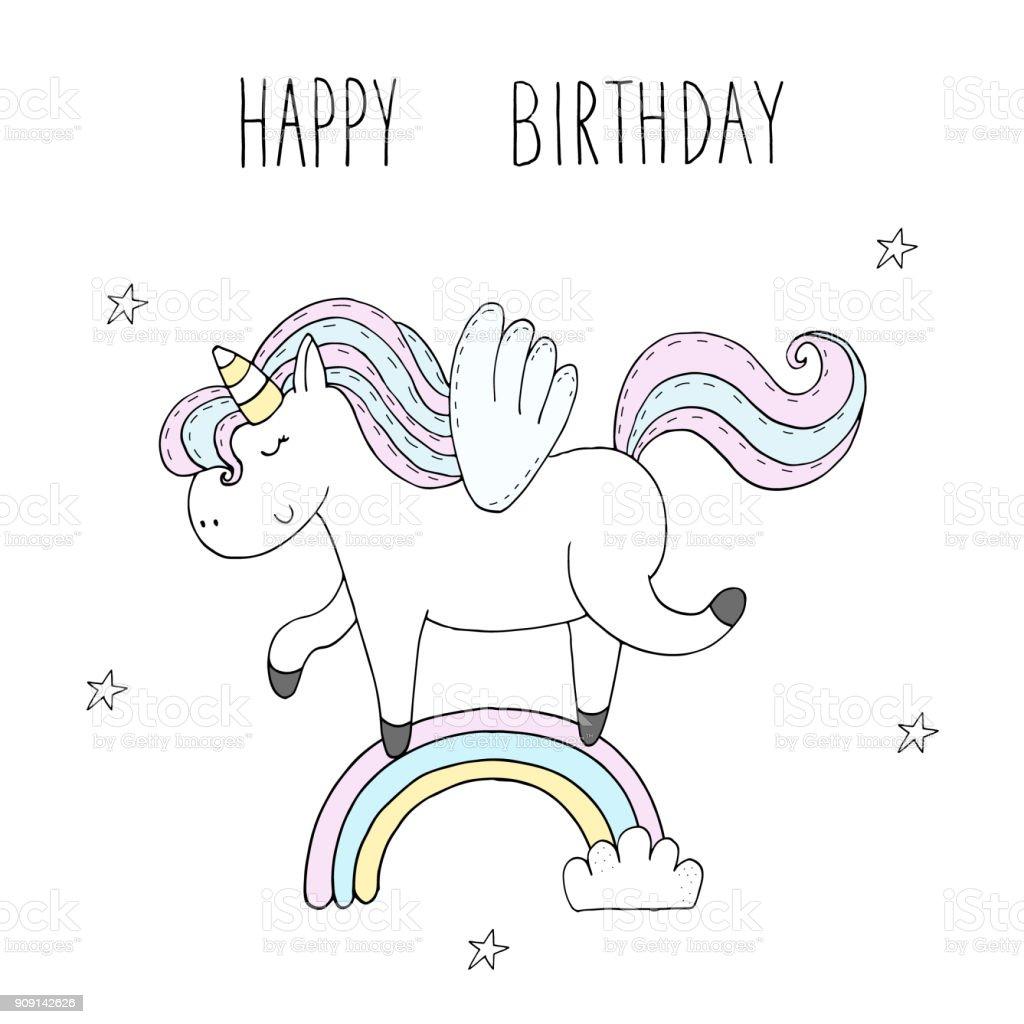 Cute Unicorn Print For Kids Happy Birthday Card Stock