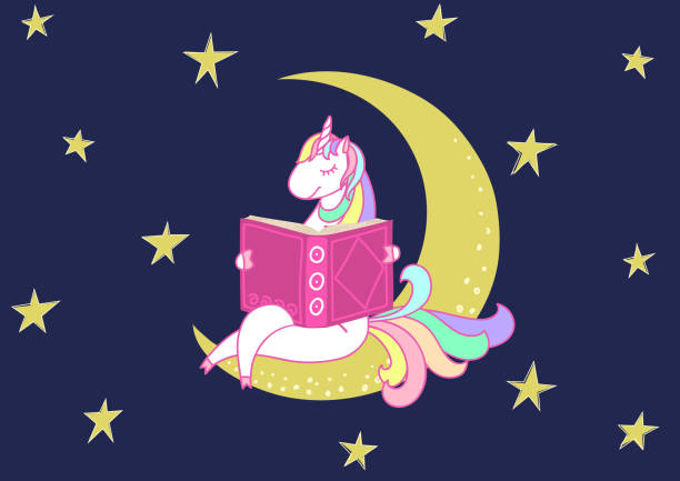 cute unicorn reading bedtime story - bedtime story stock illustrations