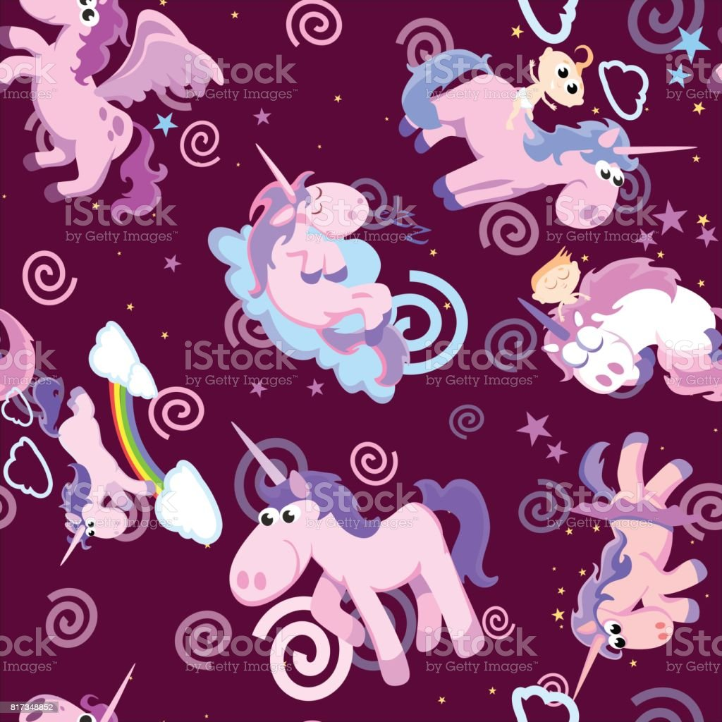 cute unicorn seamless pattern magic pegasus flying with wing and