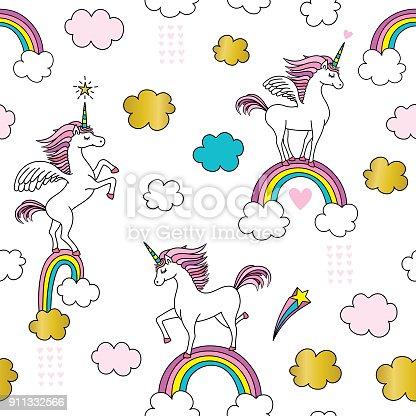 istock Cute Unicorn seamless pattern 911332566