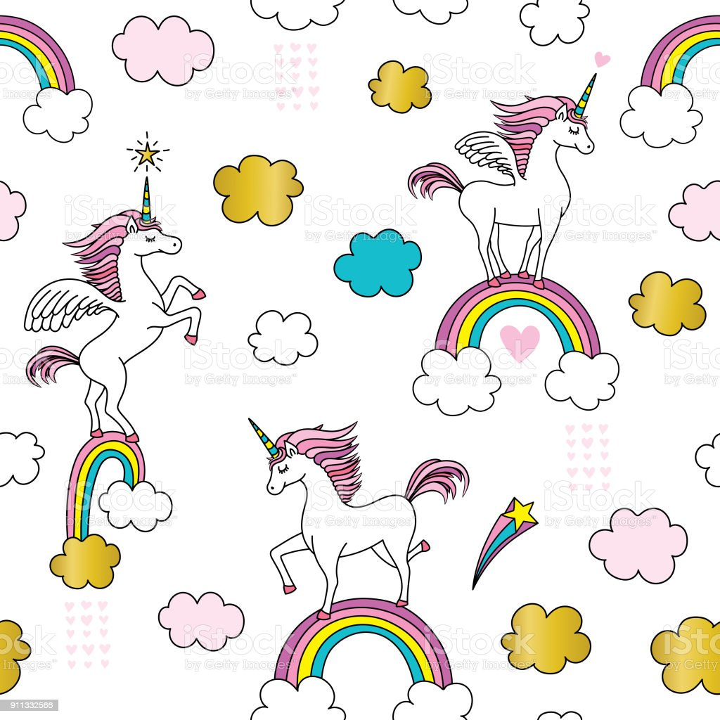 Cute Unicorn seamless pattern vector art illustration