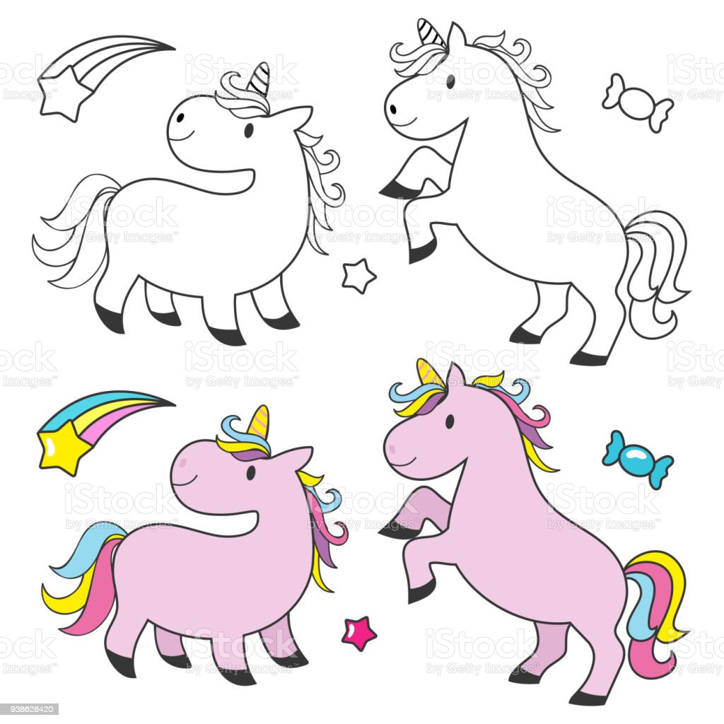 Cute Unicorn Set For Kids Coloring Book Stock Illustration