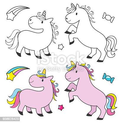 Ilustración de Lindo Unicornio Para Niños Para Colorear Libro y más ...