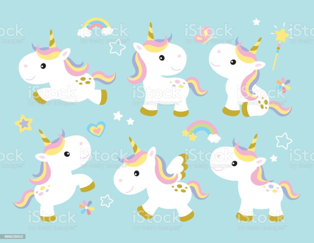 Fairy Princess Wall Stickers Cute Unicorn Set Stock Vector Art Amp More Images Of Animal