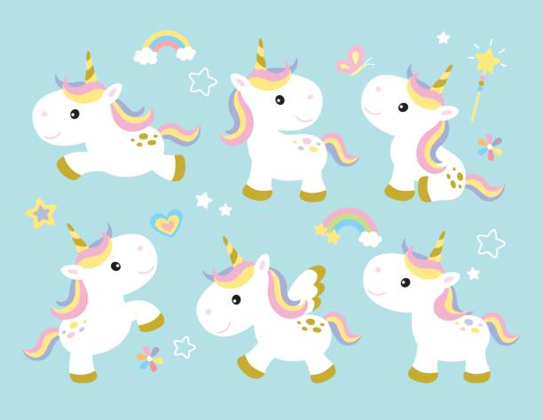 Cute Unicorn Set - ilustración de arte vectorial