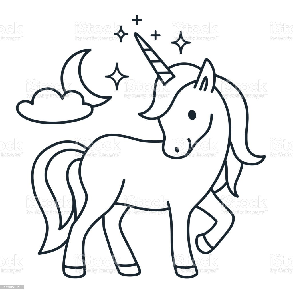 Cute Unicorn Simple Cartoon Vector Coloring Page Illustration Simple