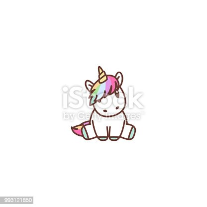 Cute unicorn sitting, vector illustration