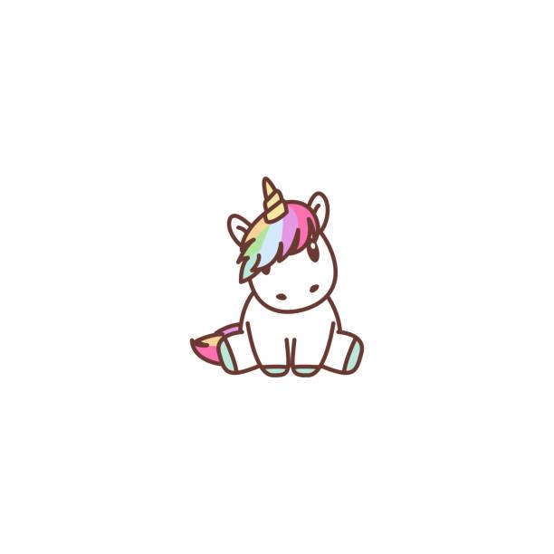 Cute unicorn sitting, vector illustration Cute unicorn sitting, vector illustration unicorns stock illustrations