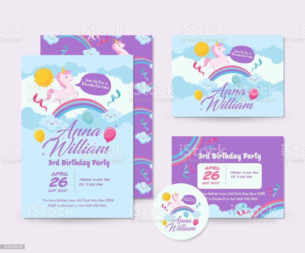 cute unicorn theme happy birthday invitation card set and flyer