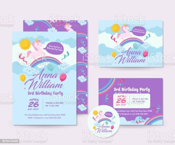 Cute unicorn theme happy birthday invitation card set and flyer vector id870470440?b=1&k=6&m=870470440&s=612x612&h=munpc1vnvsqiytsl2tjm3nqk dnfnbjkz6 4vru3gym=
