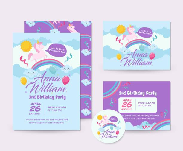 Niedlichen Einhorn Thema Geburtstag Einladung Karten-Set und Flyer Illustration Vorlage – Vektorgrafik