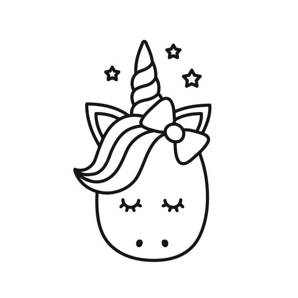cute unicorn. vector cartoon character - coloring book pages templates stock illustrations