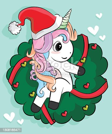 Cute unicorn vector Christmas character cartoon merry x mas wear santa hat. Happy New year festival snow season Perfect kid greeting card, t-shirt print, inspiration poster. Romantic hand drawing.