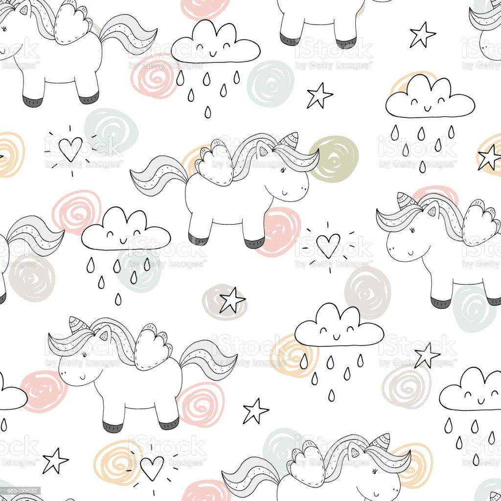 cute unicorn vector pattern cute unicorn vector pattern - stockowe grafiki wektorowe i więcej obrazów abstrakcja royalty-free