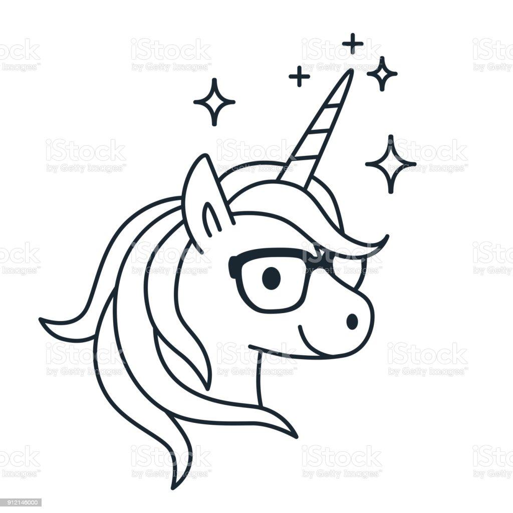 Niedlichen Einhorn Tragen Brillen Einzelfarbe Umriss Abbildung Einfache Linie Doodle Symbol Malvorlagen Buch Magie Fantasy Bildung Schule Lernen