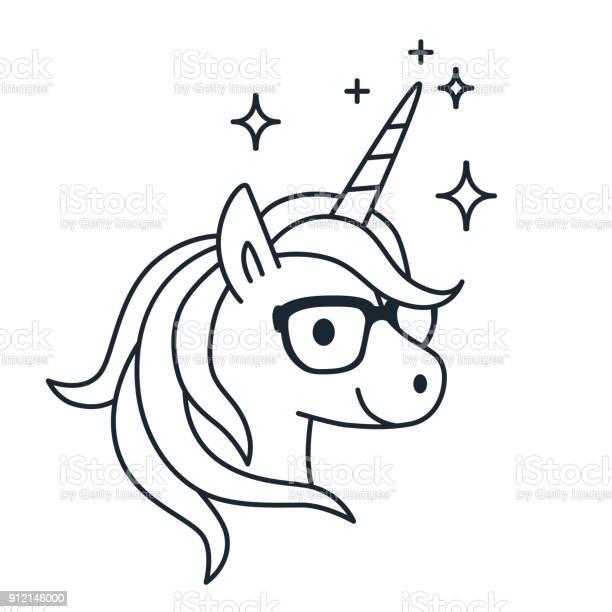 Cute unicorn wearing eyeglasses single color outline illustration vector id912146000?b=1&k=6&m=912146000&s=612x612&h=6lzxwdkjw8qgx6v3rwmsvl7gaz1wow c7bh 8dlkg5c=