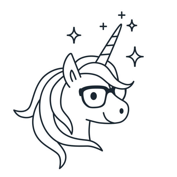 cute unicorn wearing eyeglasses single color outline illustration. simple line doodle icon, coloring book page. magic, fantasy, education, school, learning theme design element isolated on white. - unicorn line drawings stock illustrations, clip art, cartoons, & icons