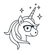 Cute Unicorn Wearing Eyeglasses Single Color Outline Illustration Simple Line Doodle Icon Coloring Book Tattoo Page
