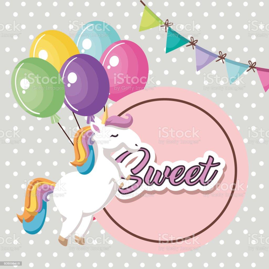 lindo unicornio con globos de aire kawaii tarjeta de cumpleaños de carácter  ilustración de lindo unicornio cbd3cfc84b5