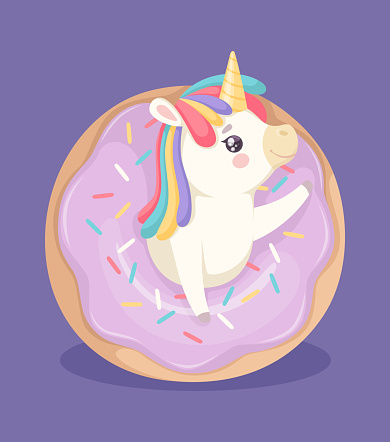 Cute unicorn with donut. Sweet poster, bakery and fantasy animal. Cute cartoon pony and cake with color glaze vector illustration