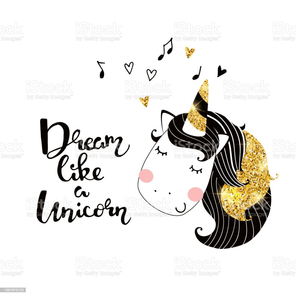 Cute Unicorn With Glitter Elements Vector Illustration Poster With Slogan And Unicornjpg Stock Illustration Download Image Now Istock