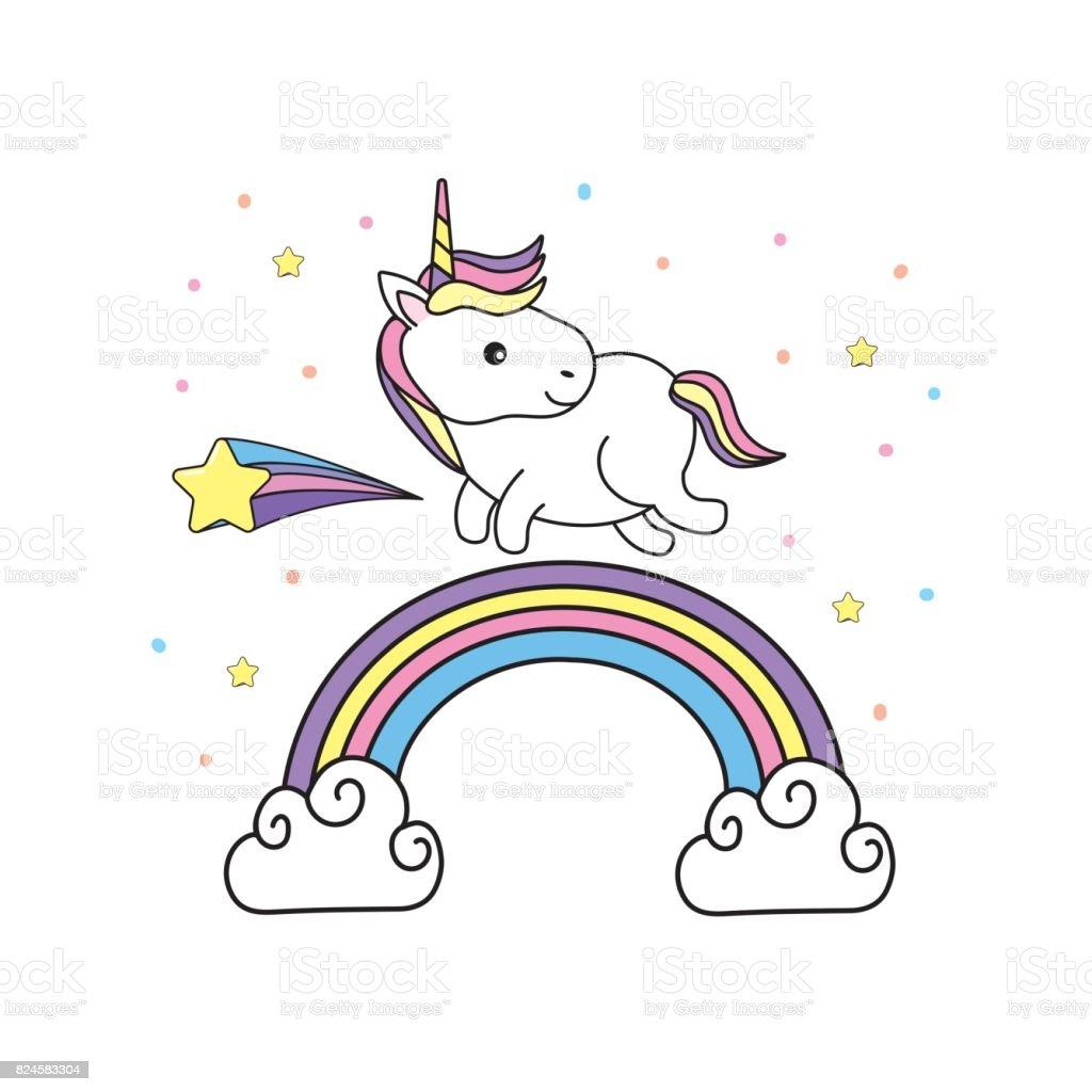 Ilustración de Lindo Unicornio Con Diseño Pelo Y Arco Iris y más ...