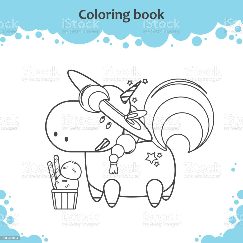 Cute Unicorn With Hat And Ice Cream Coloring Page For Kids Royalty Free