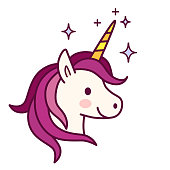 Cute unicorn with pink mane vector illustration. Simple flat line doodle icon contemporary style design element isolated on white. Magical creatures, fantasy, dreams theme.