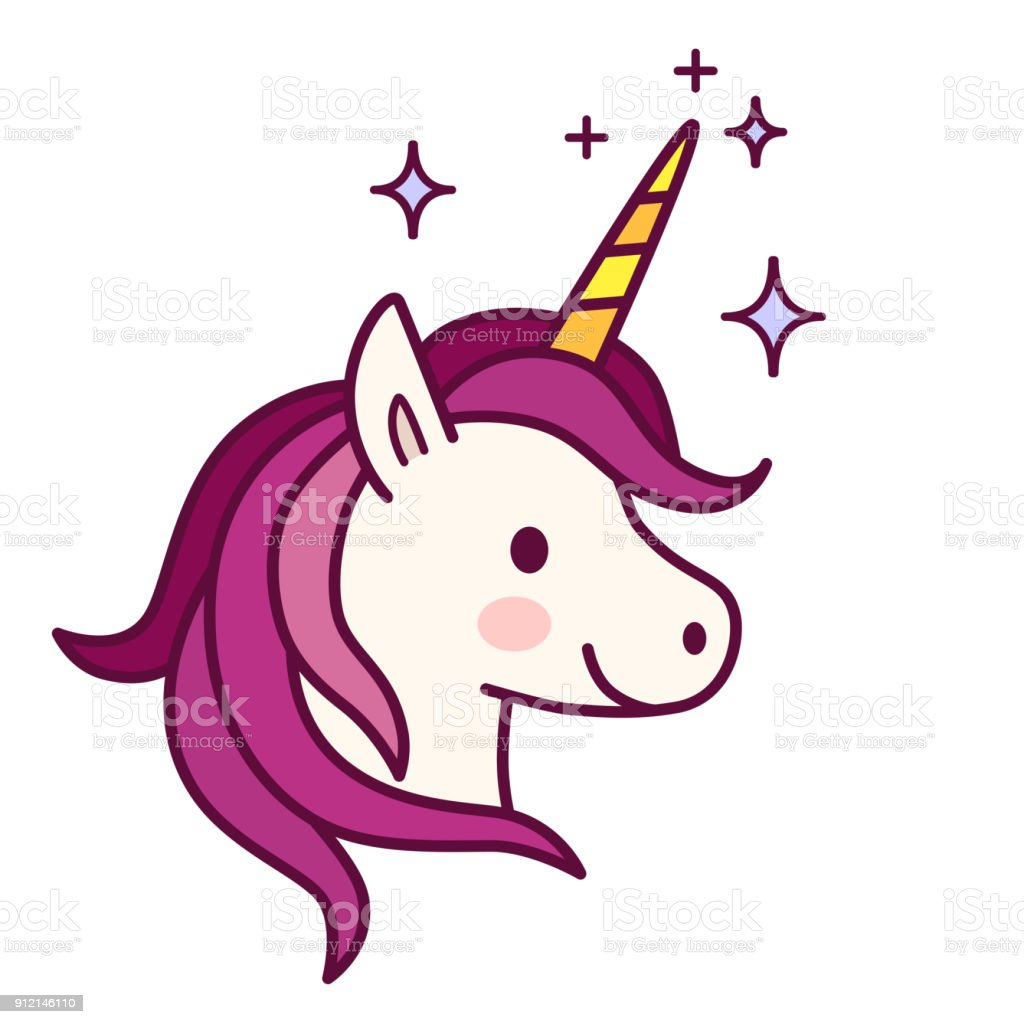 Cute unicorn with pink mane vector illustration. Simple flat line doodle icon contemporary style design element isolated on white. Magical creatures, fantasy, dreams theme. vector art illustration