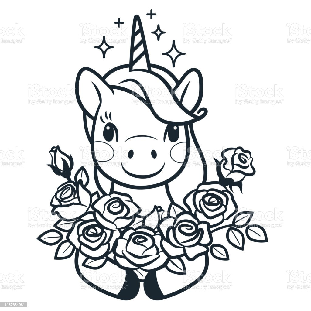 Cute Unicorn With Roses Simple Cartoon Vector Coloring ...