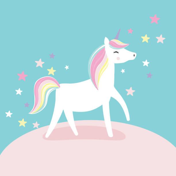 cute unicorn with soft pink background, vector illustation - unicorns stock illustrations