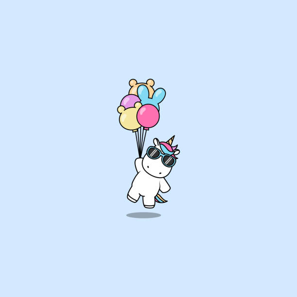 Cute unicorn with sunglasses holding balloons, vector illustration Cute unicorn with sunglasses holding balloons, vector illustration unicorn stock illustrations