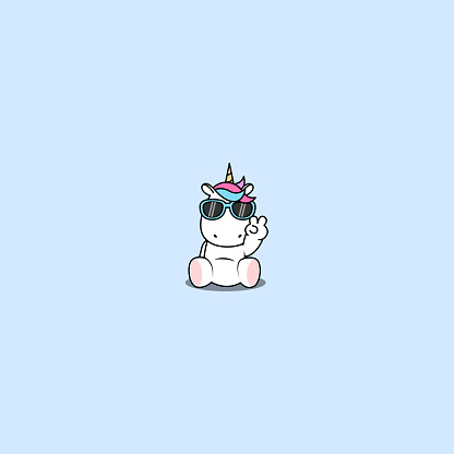 Cute unicorn with sunglasses sitting and doing victory sign, vector illustration