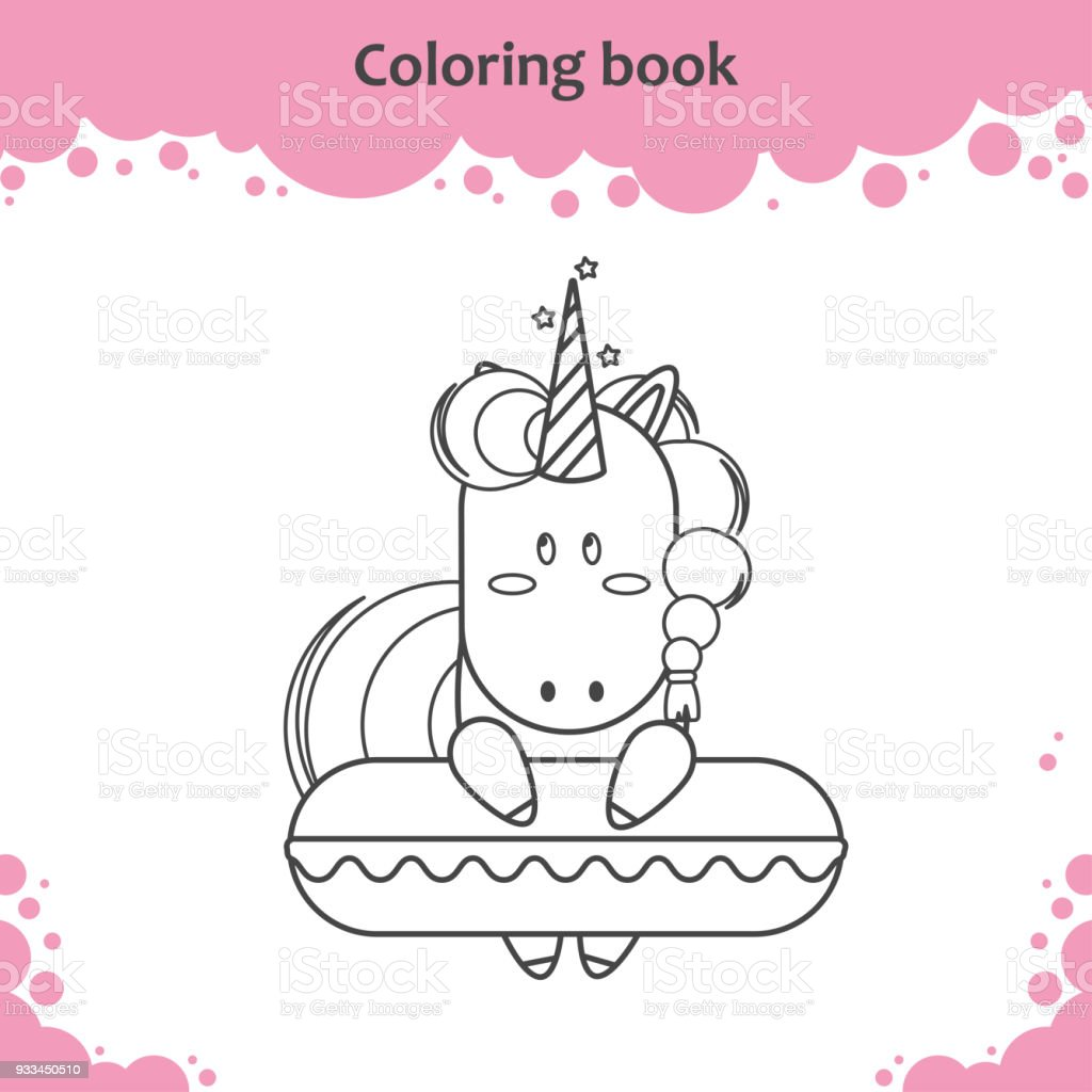 Cute Unicorn With Swimming Circle Coloring Page For Kids Stock