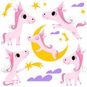 Pink colored unicorn animal child among stars and clouds.