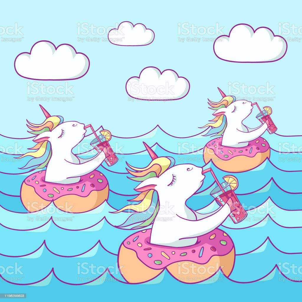 Cute Unicorns On Donut Swimming Ring Summer Time Magic Unicorn Drinking A Cocktail Swims In The Sea Cartoon Flat Style Illustration Template For Printing Sticker Texture Wallpaper Postcard Stock Illustration Download