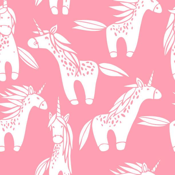 ilustraciones, imágenes clip art, dibujos animados e iconos de stock de lindos unicornios. patrón vectorial sin costuras. - conceptos y temas