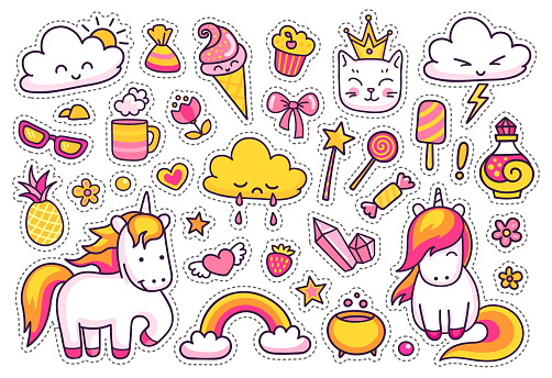 Cute Unicorns With Magic Elements Set Of Stickers Patches Badges Pins Prints For Kids Stock Illustration Download Image Now Istock