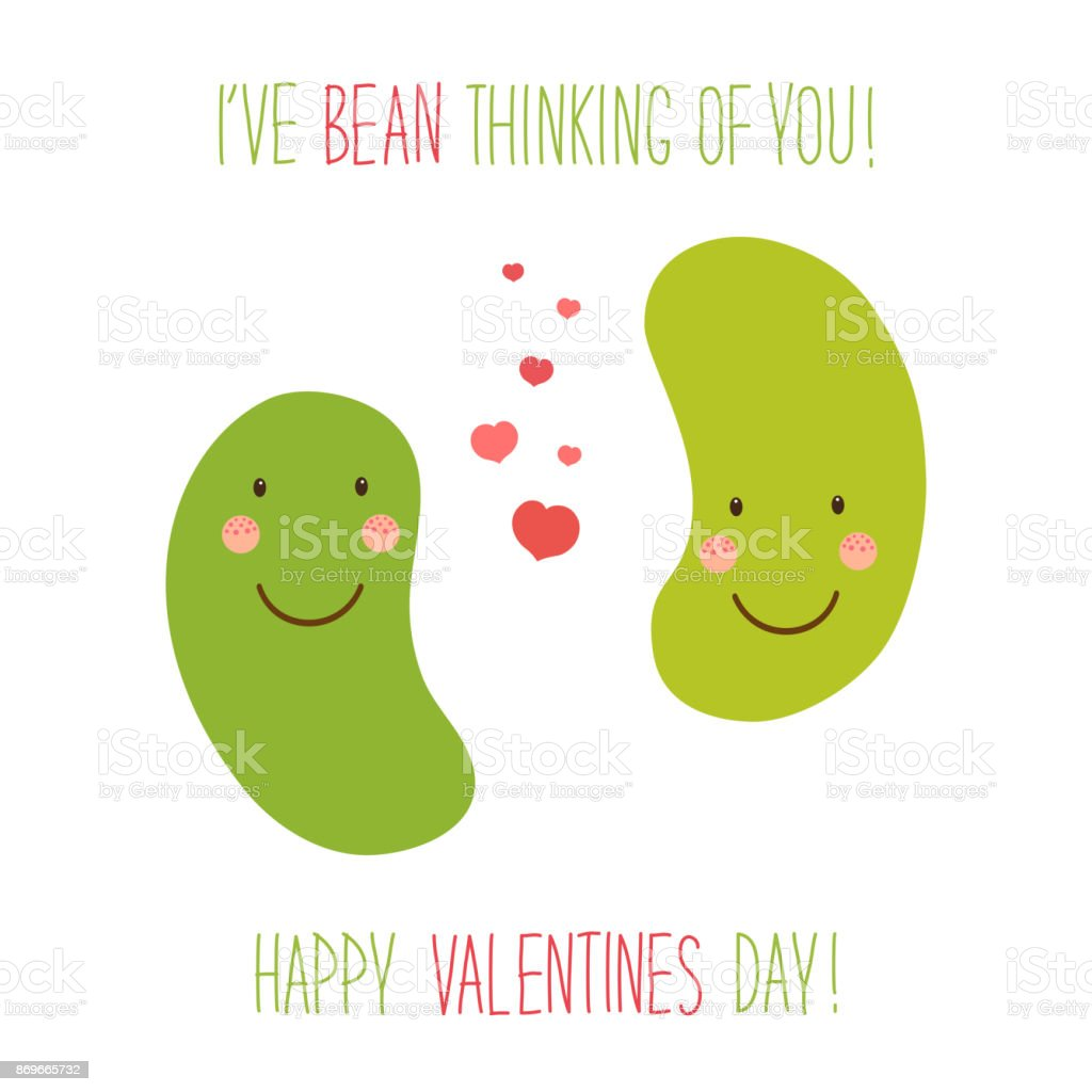 Cute unusual hand drawn Valentines Day card with funny cartoon characters of beans vector art illustration